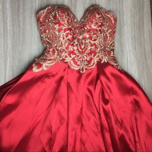 Red and gold prom dress by Soieblu. Size: large